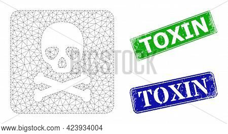Mesh Death Box Model, And Toxin Blue And Green Rectangular Rubber Stamp Seals. Mesh Wireframe Image