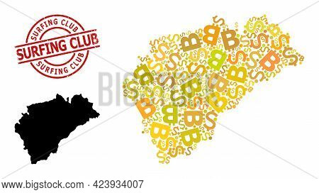 Distress Surfing Club Stamp Seal, And Financial Collage Map Of Segovia Province. Red Round Seal Cont