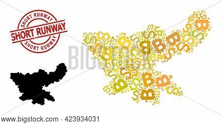 Scratched Short Runway Stamp Seal, And Finance Mosaic Map Of Jharkhand State. Red Round Stamp Seal H