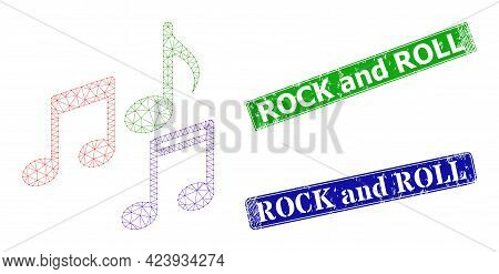 Triangular Melody Notes Image, And Rock And Roll Blue And Green Rectangle Unclean Stamp Seals. Mesh