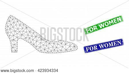 Mesh Lady Shoe Image, And For Women Blue And Green Rectangle Unclean Badges. Mesh Carcass Symbol Is