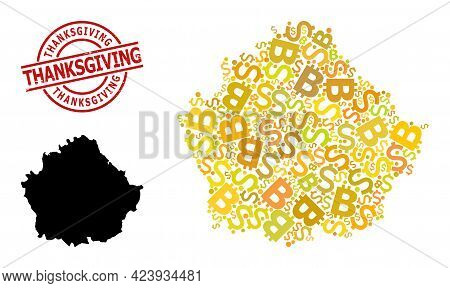Textured Thanksgiving Seal, And Banking Collage Map Of Cuenca Province. Red Round Stamp Seal Include
