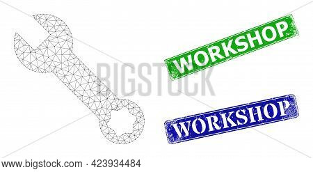 Polygonal Spanner Model, And Workshop Blue And Green Rectangular Dirty Stamp Seals. Polygonal Carcas