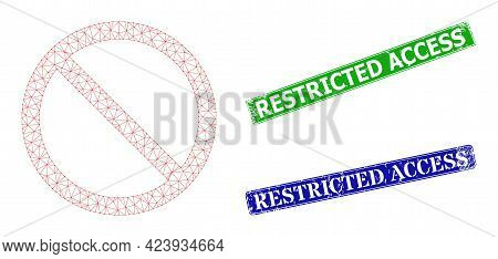 Polygonal Restricted Image, And Restricted Access Blue And Green Rectangular Rubber Stamp Seals. Pol