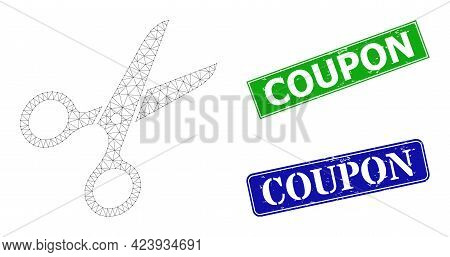 Polygonal Scissors Model, And Coupon Blue And Green Rectangle Grunge Stamp Seals. Mesh Carcass Illus
