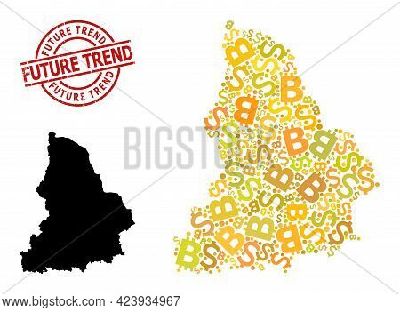 Distress Future Trend Stamp, And Financial Mosaic Map Of Sverdlovsk Region. Red Round Seal Contains