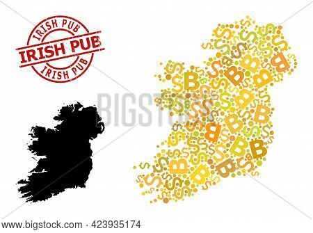 Grunge Irish Pub Stamp Seal, And Currency Collage Map Of Ireland Island. Red Round Stamp Seal Has Ir