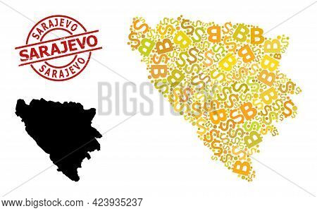 Distress Sarajevo Stamp Seal, And Finance Mosaic Map Of Bosnia And Herzegovina. Red Round Stamp Seal