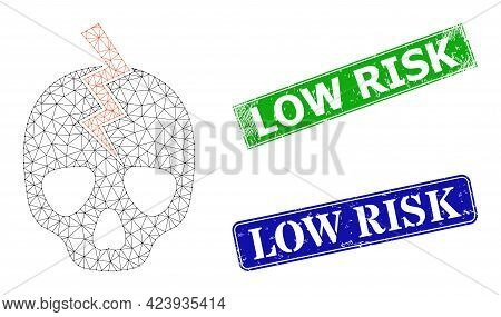 Polygonal Death Strike Image, And Low Risk Blue And Green Rectangle Textured Stamps. Polygonal Wiref