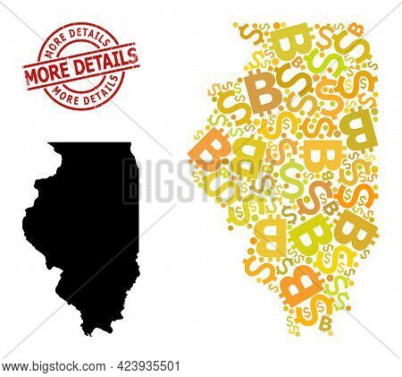 Rubber More Details Stamp, And Financial Collage Map Of Illinois State. Red Round Stamp Seal Has Mor
