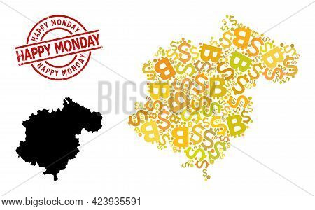 Distress Happy Monday Stamp Seal, And Money Collage Map Of Teruel Province. Red Round Stamp Seal Inc