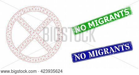 Polygonal Cancel Model, And No Migrants Blue And Green Rectangle Rubber Stamps. Polygonal Carcass Sy