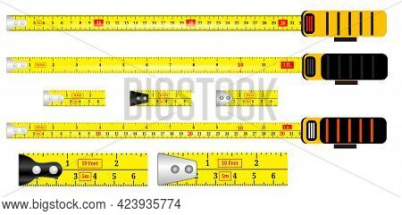 Set Of Realistic Tape Measure Isolated Or Yellow Tape Measure Inchi Scale And Centimeter Or Construc