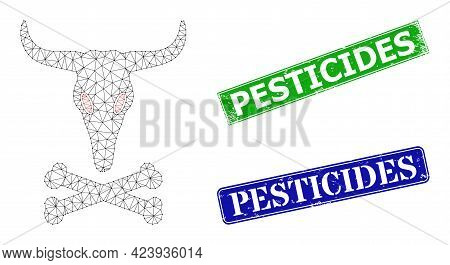 Mesh Dead Bull Bones Image, And Pesticides Blue And Green Rectangular Rubber Stamps. Polygonal Carca