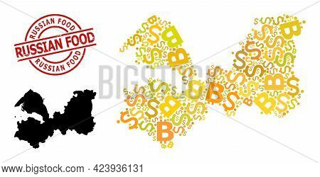 Distress Russian Food Stamp, And Bank Collage Map Of Leningrad Region. Red Round Stamp Seal Includes