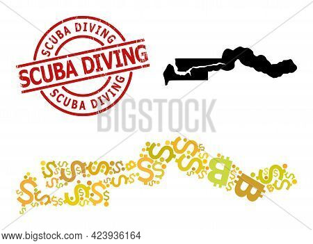 Textured Scuba Diving Badge, And Currency Mosaic Map Of The Gambia. Red Round Badge Includes Scuba D
