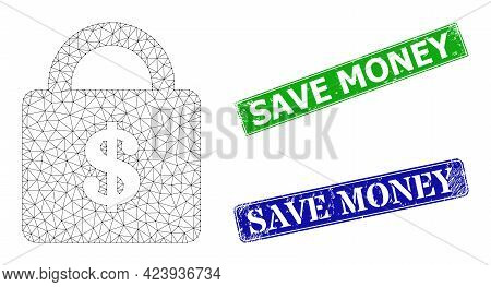 Mesh Bank Lock Image, And Save Money Blue And Green Rectangular Scratched Seals. Polygonal Carcass S
