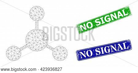 Network Node Links Image, And No Signal Blue And Green Rectangular Rubber Stamp Seals. Polygonal Wir