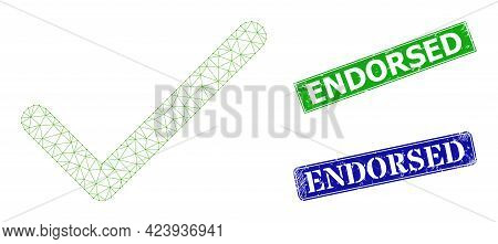 Triangular Apply Tick Image, And Endorsed Blue And Green Rectangle Scratched Seals. Polygonal Carcas