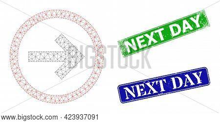 Polygonal Next Image, And Next Day Blue And Green Rectangular Textured Seal Prints. Mesh Carcass Ima