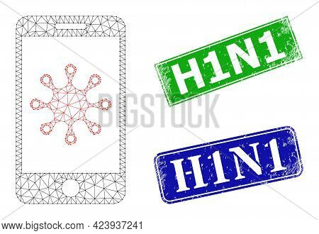 Net Smartphone Infection Image, And H1n1 Blue And Green Rectangular Unclean Stamp Seals. Polygonal W