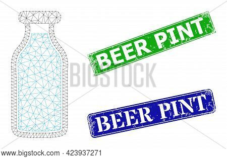 Polygonal Milk Bottle Image, And Beer Pint Blue And Green Rectangular Textured Stamp Seals. Polygona