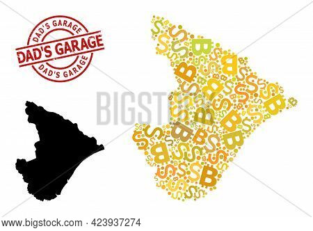 Distress Dads Garage Stamp Seal, And Bank Mosaic Map Of Sergipe State. Red Round Stamp Includes Dads