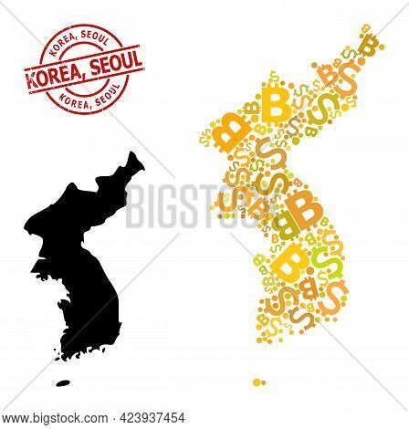Textured Korea, Seoul Stamp Seal, And Finance Mosaic Map Of Korea. Red Round Stamp Includes Korea, S