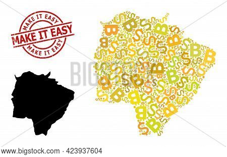 Scratched Make It Easy Seal, And Money Collage Map Of Mato Grosso Do Sul State. Red Round Stamp Seal