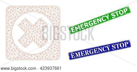 Triangular Terminate Image, And Emergency Stop Blue And Green Rectangle Dirty Stamp Seals. Mesh Wire