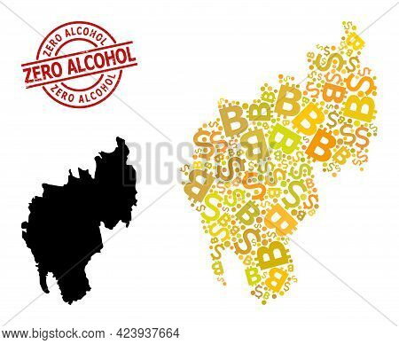 Grunge Zero Alcohol Stamp Seal, And Financial Mosaic Map Of Tripura State. Red Round Stamp Seal Has