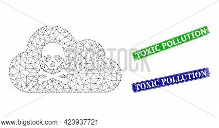 Polygonal Toxic Gas Image, And Toxic Pollution Blue And Green Rectangular Dirty Seal Prints. Polygon