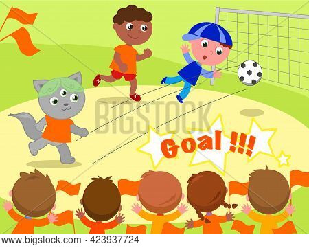 Soccer Game With Very Different Players: Boys, Girls And Even A Real Alien Who Is Scoring Goal. Cart