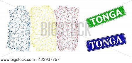Polygonal Romania Flag Image, And Tonga Blue And Green Rectangular Grunge Stamps. Polygonal Wirefram