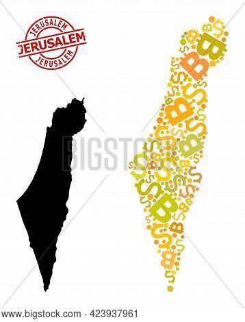 Distress Jerusalem Badge, And Finance Mosaic Map Of Israel. Red Round Badge Includes Jerusalem Capti