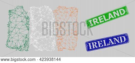 Network Irland Flag Image, And Ireland Blue And Green Rectangle Unclean Stamp Seals. Mesh Carcass Im