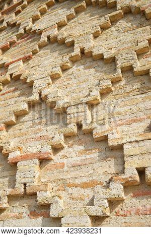 Facade detail of Mudejar building, named as Casa de la Estanca, in Borja, Zaragoza Province, Aragon in Spain.