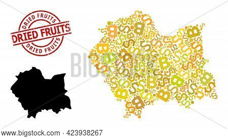 Distress Dried Fruits Stamp Seal, And Bank Collage Map Of Lesser Poland Province. Red Round Stamp Se