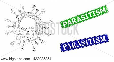 Network Death Virus Image, And Parasitism Blue And Green Rectangle Rubber Seals. Polygonal Wireframe