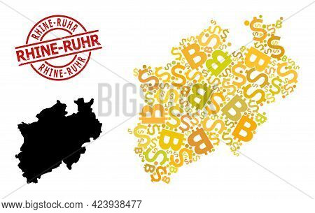 Scratched Rhine-ruhr Stamp Seal, And Banking Collage Map Of North Rhine-westphalia State. Red Round