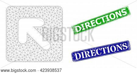 Mesh Left Up Direction Image, And Directions Blue And Green Rectangle Grunge Watermarks. Mesh Carcas