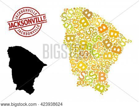 Rubber Jacksonville Stamp Seal, And Finance Mosaic Map Of Ceara State. Red Round Stamp Seal Contains
