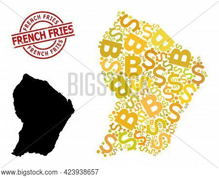 Grunge French Fries Stamp Seal, And Finance Collage Map Of French Guiana. Red Round Stamp Seal Has F