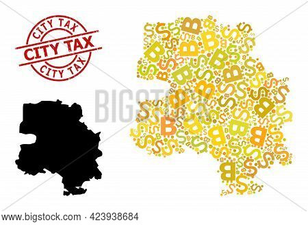 Rubber City Tax Stamp, And Financial Collage Map Of New Delhi City. Red Round Stamp Seal Has City Ta