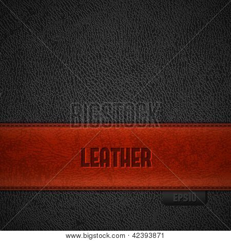 Red leather stripe on black leather background with copyspace - eps10
