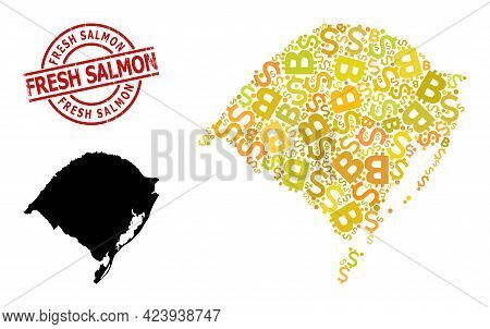 Rubber Fresh Salmon Stamp Seal, And Financial Mosaic Map Of Rio Grande Do Sul State. Red Round Stamp