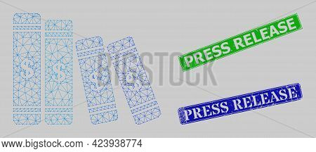 Polygonal Accounting Books Image, And Press Release Blue And Green Rectangular Unclean Stamp Seals.