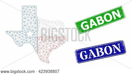Net Texas Map Logo Model, And Gabon Blue And Green Rectangle Rubber Stamp Seals. Polygonal Wireframe