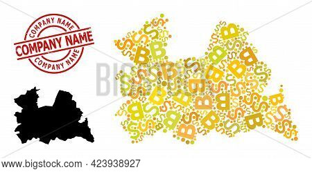 Grunge Company Name Seal, And Banking Mosaic Map Of Utrecht Province. Red Round Seal Has Company Nam