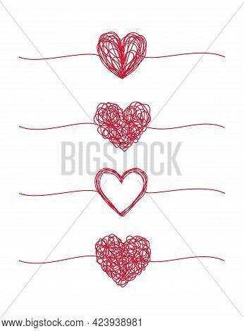 Tangled Grungy Hearts Scribble Set Isolated On White Background